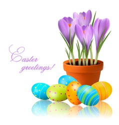 fresh spring flowers with easter eggs vector image