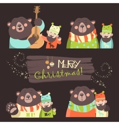 Funny bear and man are the best friends vector image