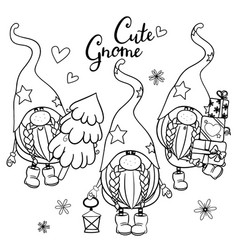 gnomes outlined for coloring book isolated on a vector image