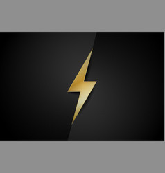 Gold color thunderbolt with black background vector