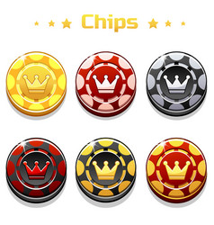 golden black and red poker chips on the vector image