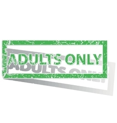 Green outlined ADULTS ONLY stamp vector image