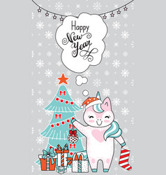greeting card christmas card with unicorn vector image