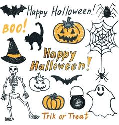Hand drawing halloween set vector