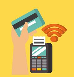 Hand holding card dataphone nfc pos terminal vector