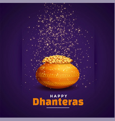 Happy dhanteras wishes festival card with golden vector