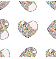 hearts seamless pattern hand drawn vector image