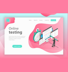 isometric flat landing page header for vector image
