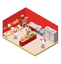 isometric pizzeria colored background vector image