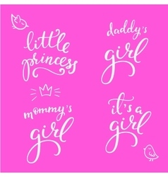 Lettering photography little girl overlay set vector