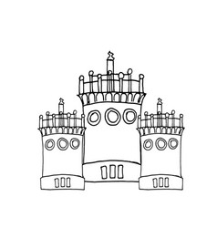 liner painting castle on white vector image