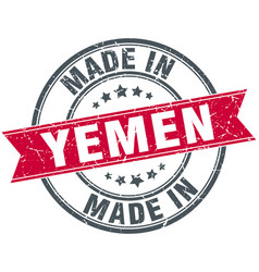 Made in yemen red round vintage stamp vector