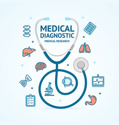 Medical diagnostics concept and thin line icons vector