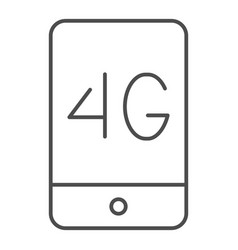 Mobile phone with 4g thin line icon 4g smartphone vector