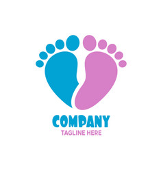 Modern is a simple logo heart and childrens foot vector