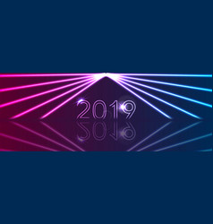 new year 2019 and neon laser rays abstract banner vector image