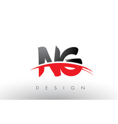 Ng n g brush logo letters with red and black vector