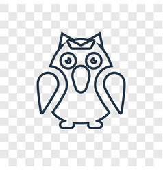 Owl concept linear icon isolated on transparent vector