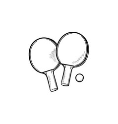 ping-pong rackets and ball hand drawn outline vector image