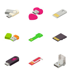 portable disk icons set isometric style vector image