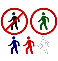 Prohibited signs walking man vector image