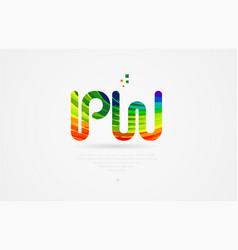 Pw p w rainbow colored alphabet letter logo vector