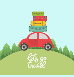 Red car with luggage on the roof for long vacation vector