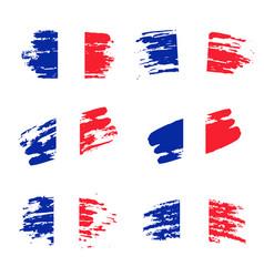 set abstract brush stroke flag france vector image
