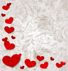 Set crumpled paper hearts on grunge floral vector