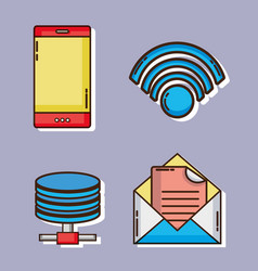 set data connection technology with information vector image