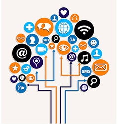 Social media networks business tree plan vector image