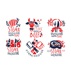 steak house premium quality labels collection vector image