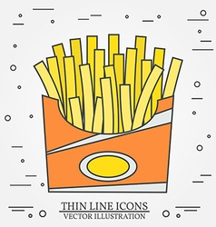 Thin line icon fries in box For web design and vector
