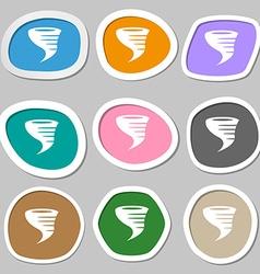 Tornado icon Multicolored paper stickers vector image