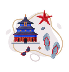 Travel and tourism attribute with china temple as vector