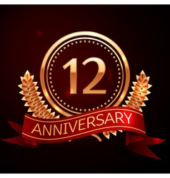 Twelve years anniversary celebration with golden vector