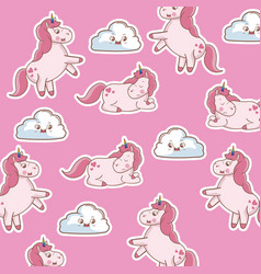 Unicorn sleep dream decoration seamless pattern vector