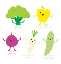 vegetable cartoon cute set vector image