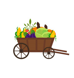 Vegetables in a wooden cart background vector