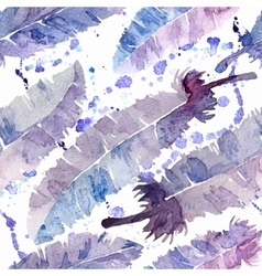 Watercolor feathers and blot seamless pattern vector image