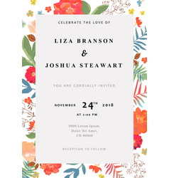 Wedding floral background colorful invitation vector