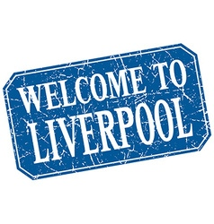 Welcome to Liverpool blue square grunge stamp vector