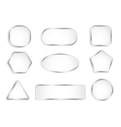 white glass buttons with chrome frame vector image