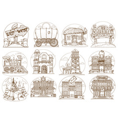 Wild west set buildings and household items vector