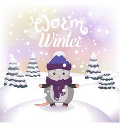 Winter with cute possum vector