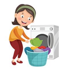 Woman washing clothes vector
