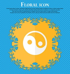 Ying yang Floral flat design on a blue abstract vector
