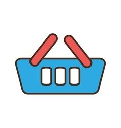 Cartoon blue basket shopping online e-commerce vector