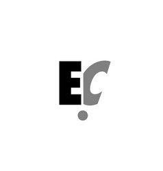 Ec e c black white grey alphabet letter logo icon vector
