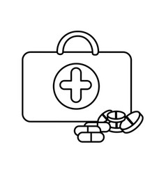 figure suitcase health with treatment icon vector image